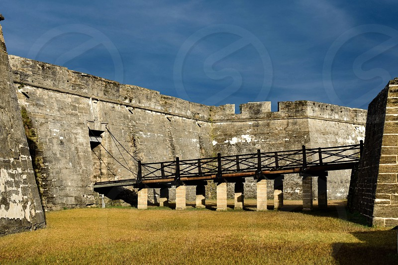 St. Augustine Florida. January 26  2019. Old bridge in main entrance of Castillo de San Marcos at Old Town in Florida's Historic Coast (1) photo