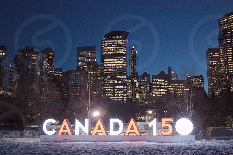Canada Calgary downtown night city lights cityscape Photography night Photography scenic beauty winter snow landscape photo Alberta photographer.  photo