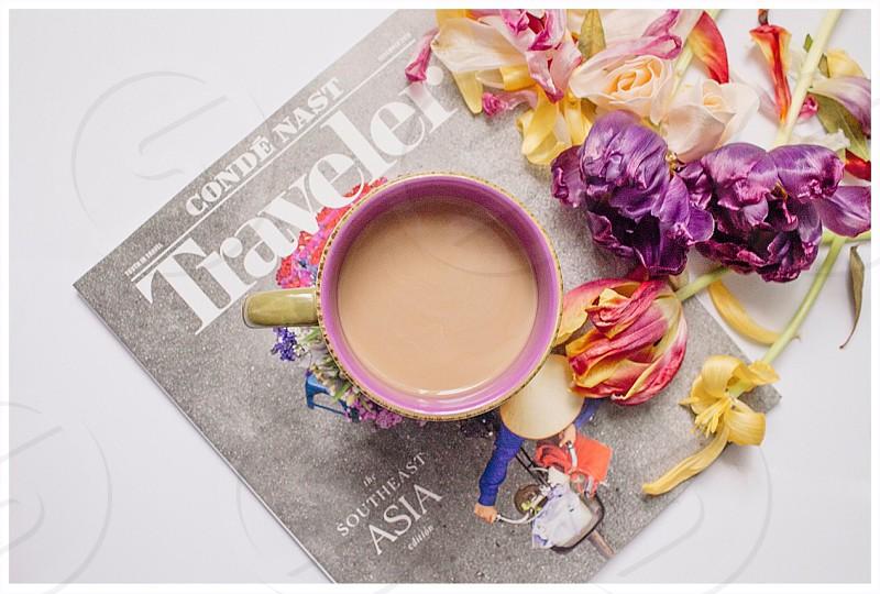 Flat lay coffee magazine photo
