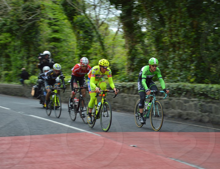 men's neon green bicycle helmet photo