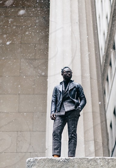 mensfashion fashion editorial commercial nyc snow male african american style stylish photo