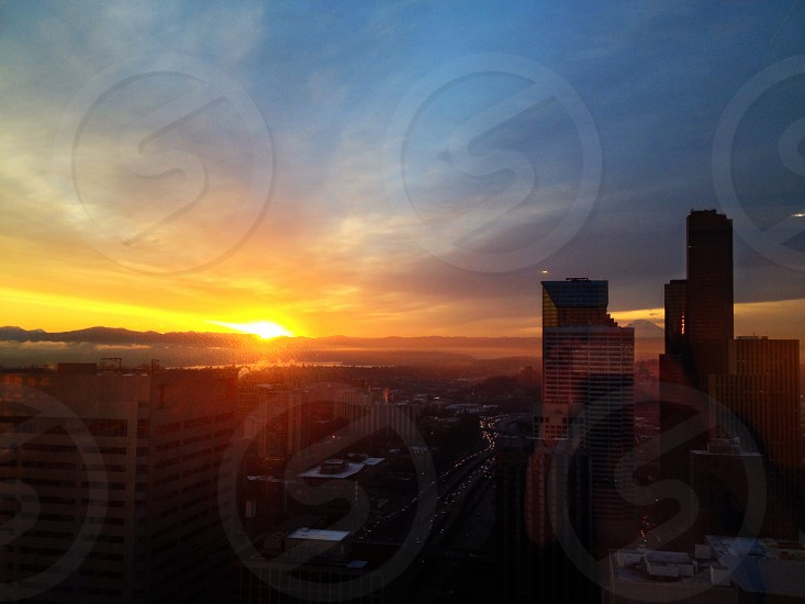 cityscape with sunset view phohography  photo