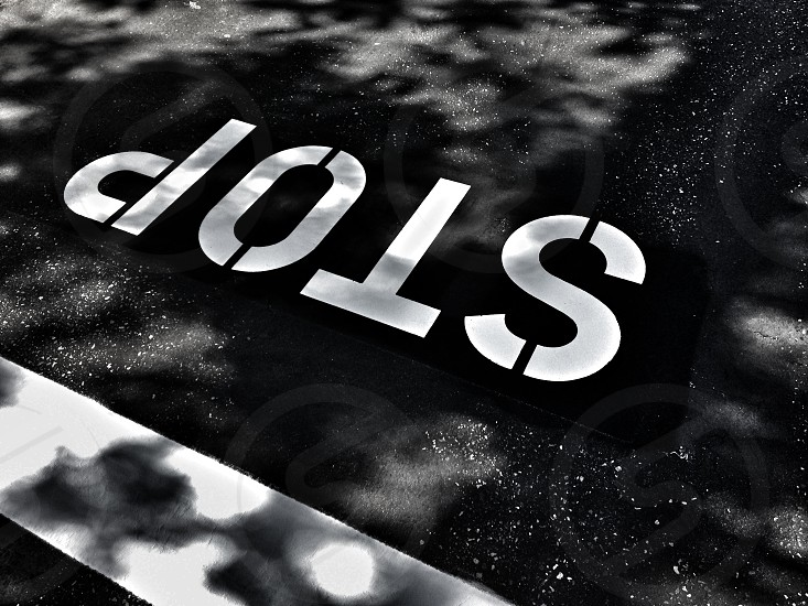 stop sign gray scale photography photo