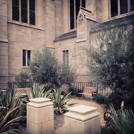 Presbyterian Church Altadena. Mediterranean garden. photo