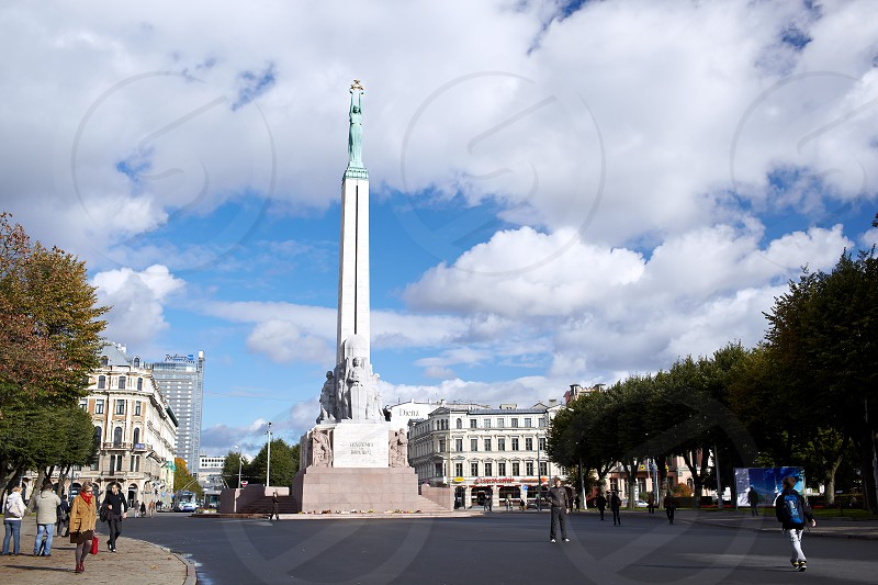 RIGA LATVIA - OCTOBER 12: The Freedom Monument. It memorial is honouring soldiers killed during the Latvian War of Independence October 12 2012 in Riga Latvia. photo