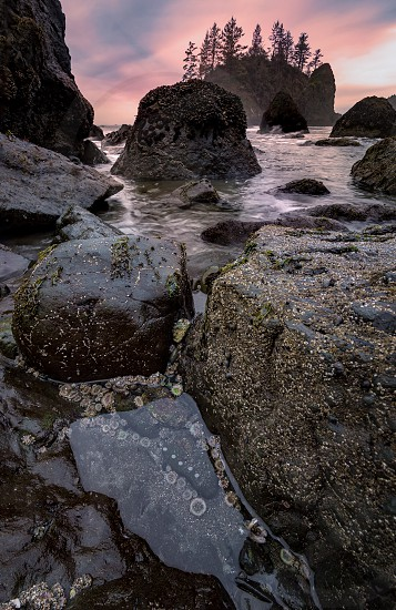 Rocky Beach Landscape at Sunset Color Image Day photo