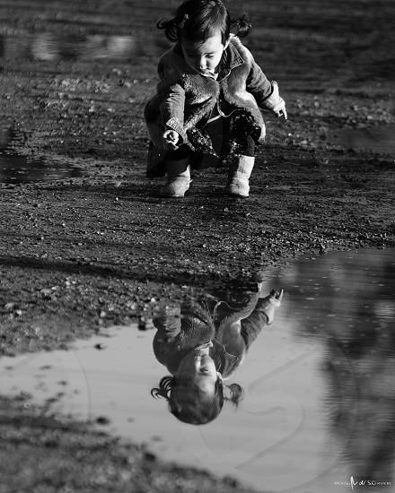 Mia Rose puddle reflection  photo