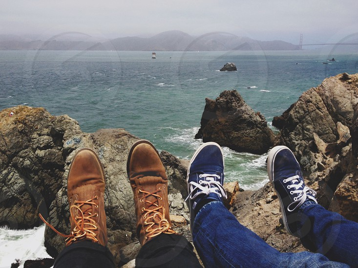 blue and white sneakers photo