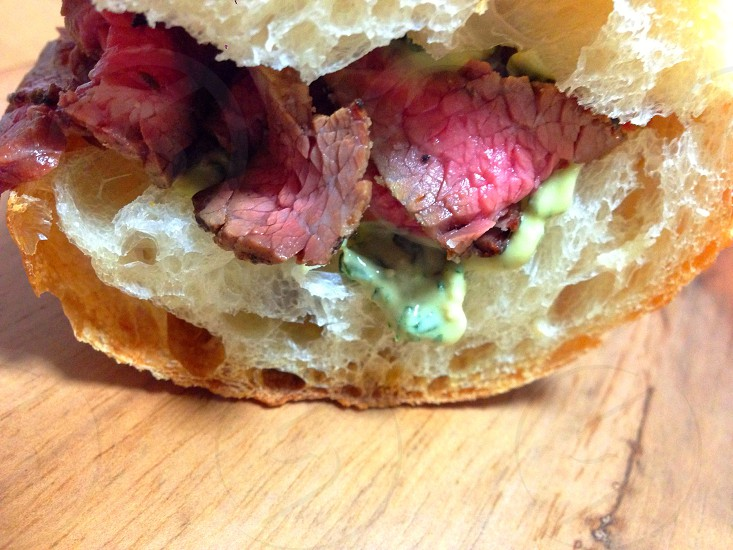 Baguette sand of the roast beef. photo