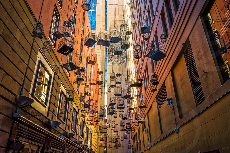Empty bird cages at Angel Place Sydney photo
