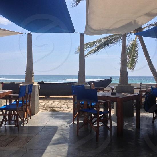 blue padded lounge chaor  photo