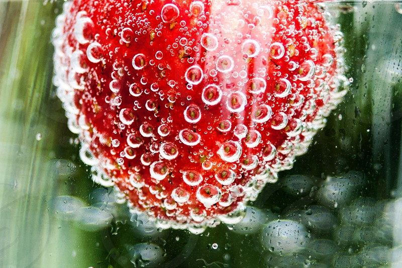 dewdrops on red fruit macro photo photo