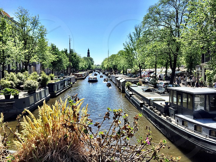 Amsterdam; bike; canal; water; explore; urban; boat photo
