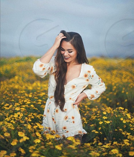 Flowers meadow floral romper woman smile sunset love cute photo