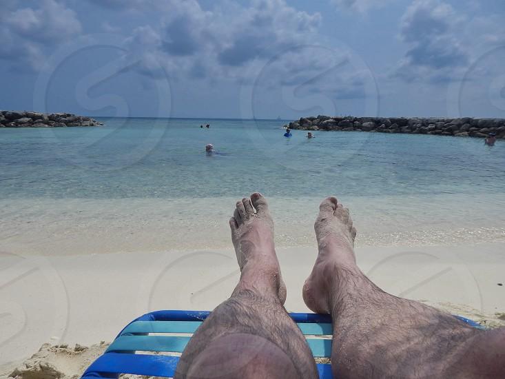 Sunny Aspect a Point of View shot on a Caribbean Beach                       photo