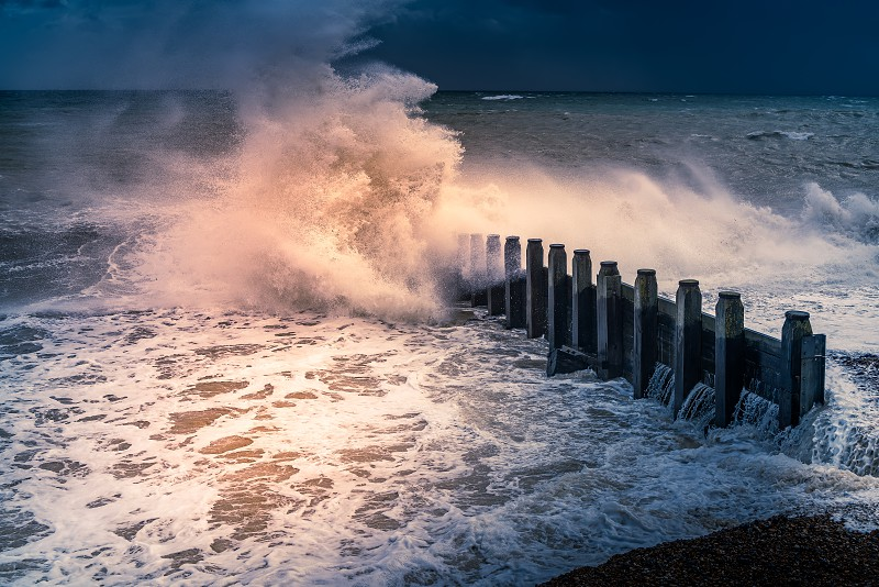 EASTBOURNE EAST SUSSEX/UK - OCTOBER 21 : Tail End of Storm Brian Racing Past Eastbourne Seafront in East Sussex on October 21 2017 photo