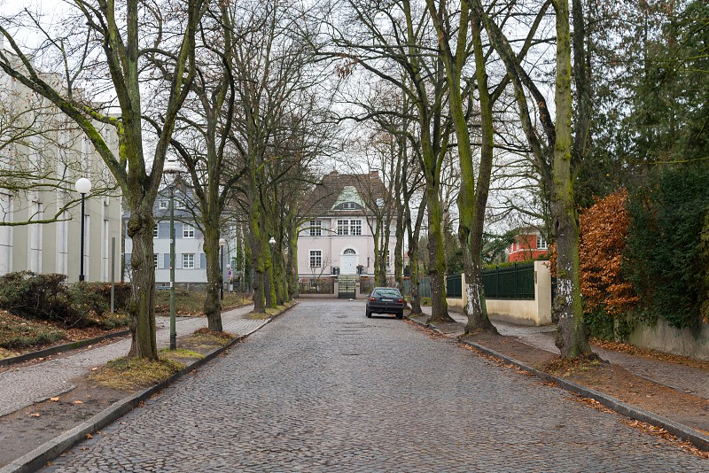 Villas and street near Freie Universtitat and Ethnologisches Museum Dahlem inside Dahlem Neighborhood in Berlin Germany photo