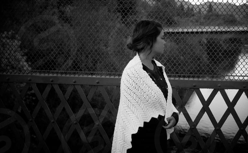 woman wearing white scarf photo