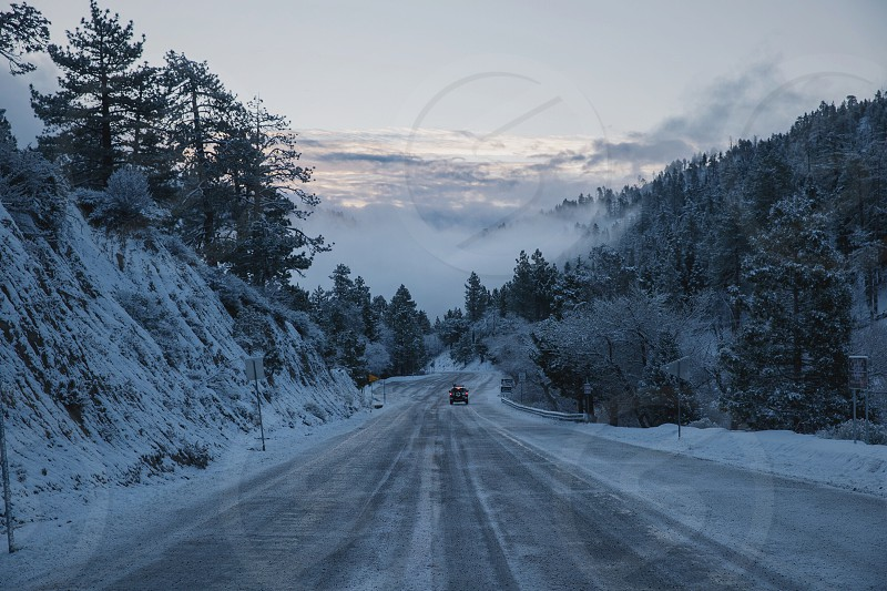 vehicle on the snow covered road near trees below cloudy sky during daytime photo