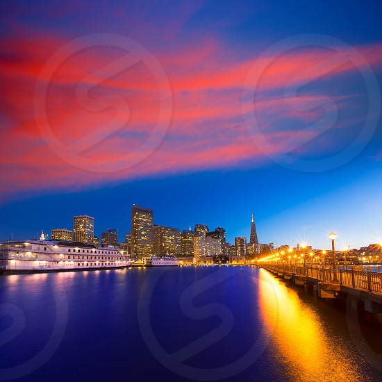 San Francisco Pier 7 sunset in California USA photo