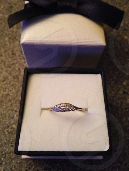 silver feather ring in box with bow photo