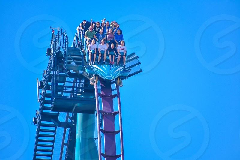 Orlando Florida . February 26  2019. People having fun amazing Mako rollercoaster at Seaworld Theme Park (3) photo