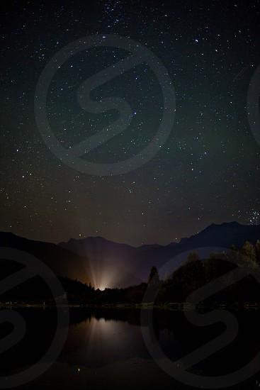 Stars lake night long exposure sky nature woods water galaxy dark reflection ray photo