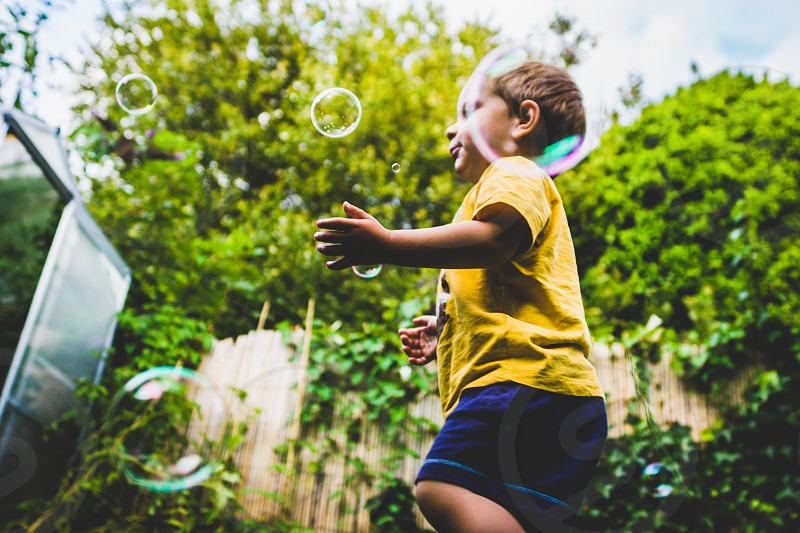 Playing with bubbles. photo
