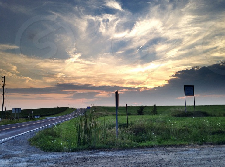 Sunset Country Rd. Highway dusk scenic farmland heartland Midwest photo