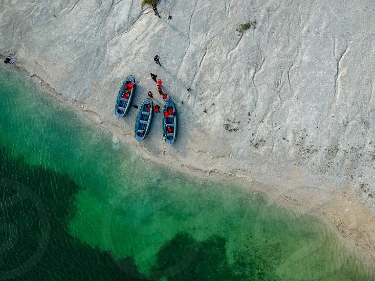 Boats on the lake shore photo