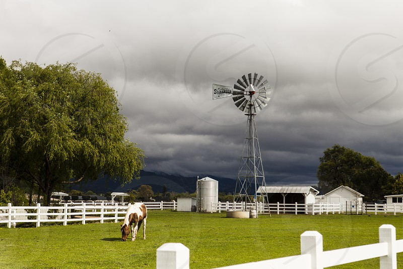 farm horse weather vain storm cloud barn silo tree pasture fence white white picket country photo