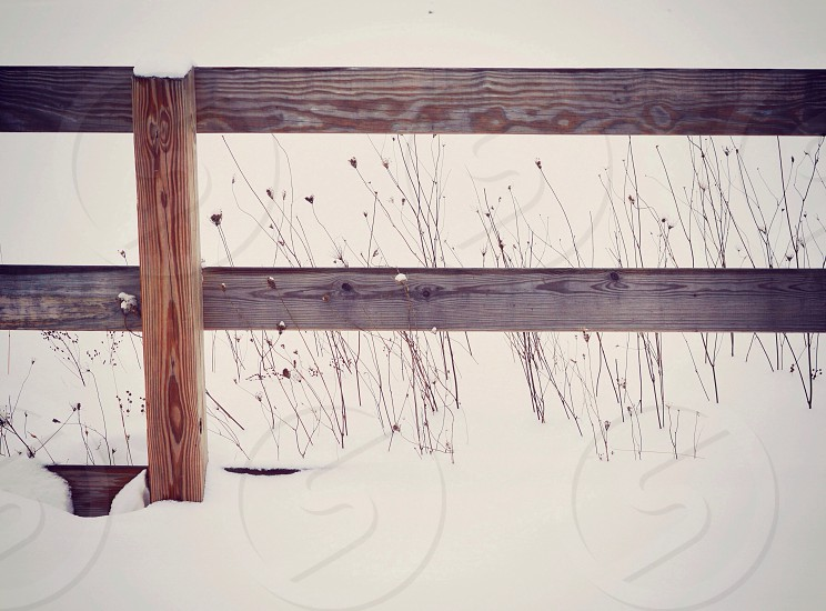 brown wooden fence on snowy field  photo