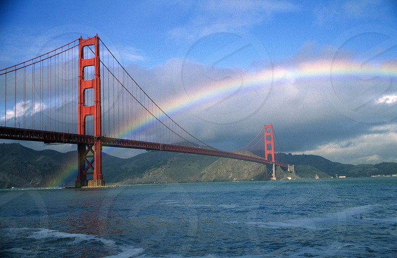 Rainbow over the Golden Gate Bridge San Francisco California photo