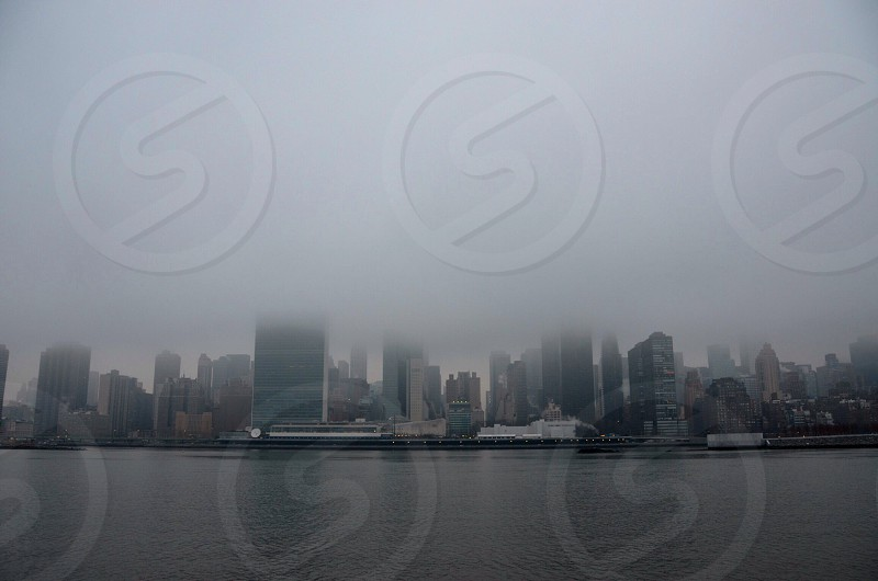 cityscape in fog photgraph photo