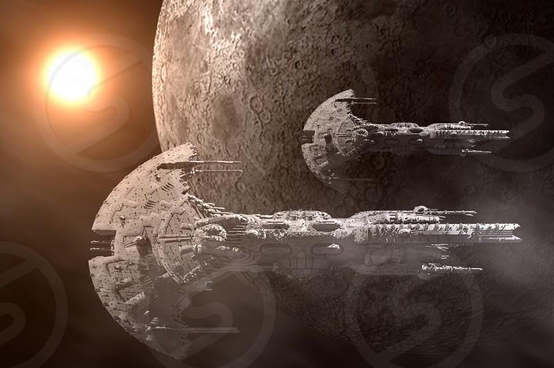 2 star wars battle ships in space photo