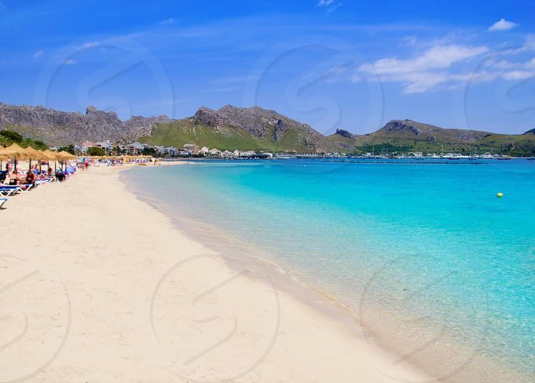 Pollensa Port sand beach in Mediterranean Mallorca island at Balearic Spain photo
