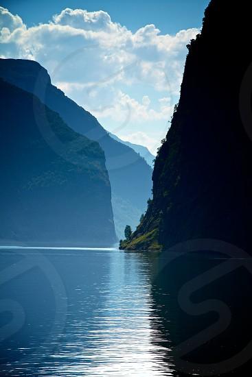 mountain fjord water photo
