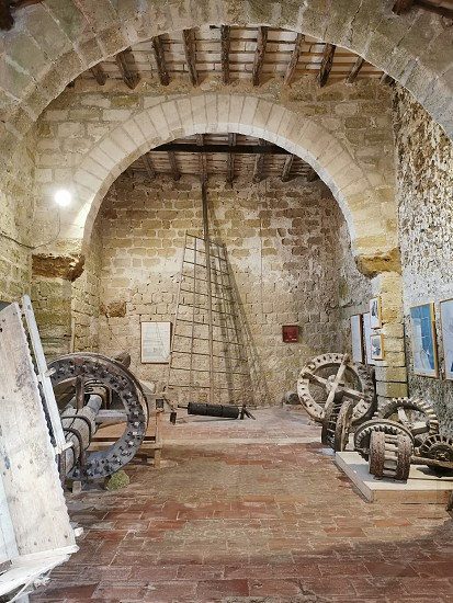 Interior of an old windmill in Sicily photo