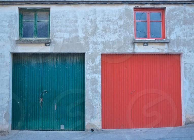 green and red window pane photo