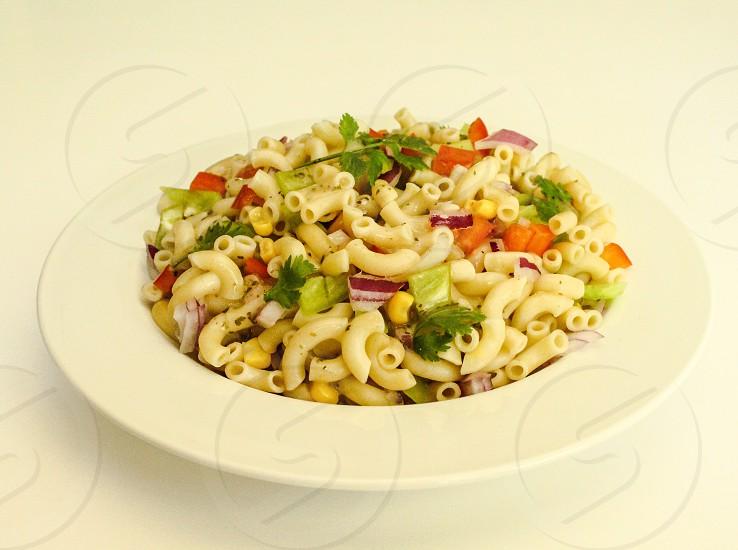 Salad Southwest peppers cilantro red onion vinaigrette macaroni elbow macaroni photo