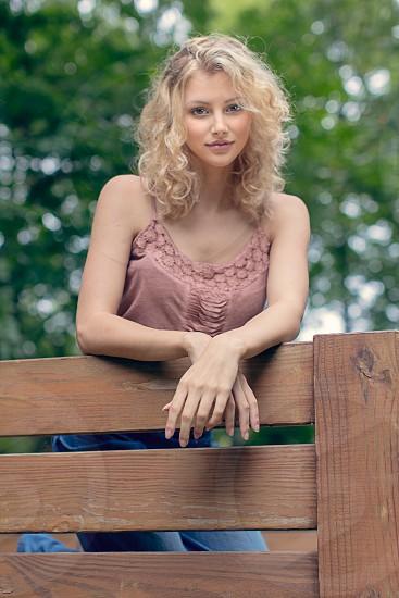 blonde hayride beauty peach trees white woman  photo