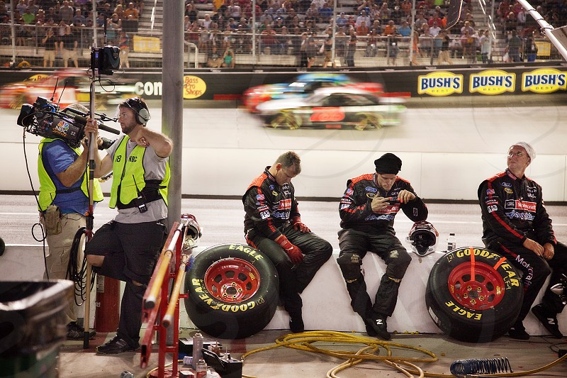 Race car drivers in the pits at Bristol Motor Speedway photo