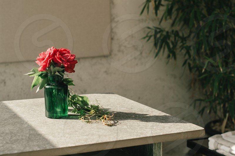 Red roses in a green vintage vase on a concrete table with rustical background. photo