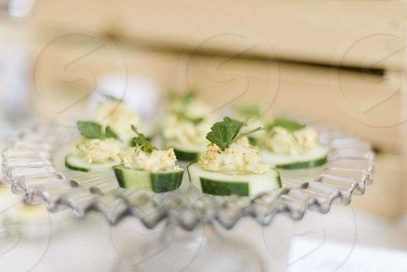 cucumber slices dish photo
