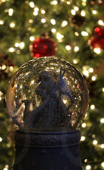 Santa snow globe Christmas tree Christmas winter snow reindeer photo