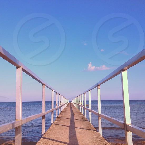 grey foot bridge photo