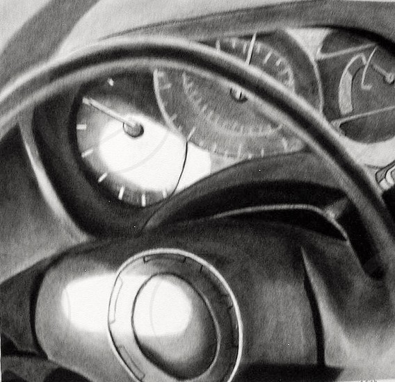 Interior dashboard of car charcoal drawing sketch. Art draw create creative auto automobile steering wheel gauges tachometer speedometer  photo