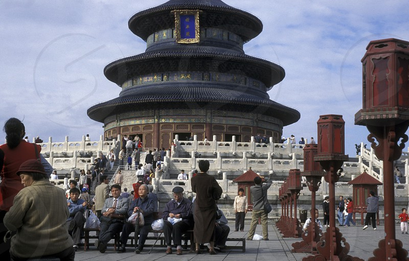 the temple of heaven in the tiantan park in the city of beijing in the east of china in east asia.  photo