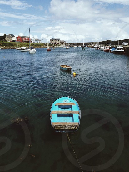 View of a bay and boats in Ireland. photo
