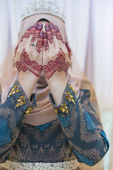 Malay Bridal or Bride henna hand carved beautiful and unique photo